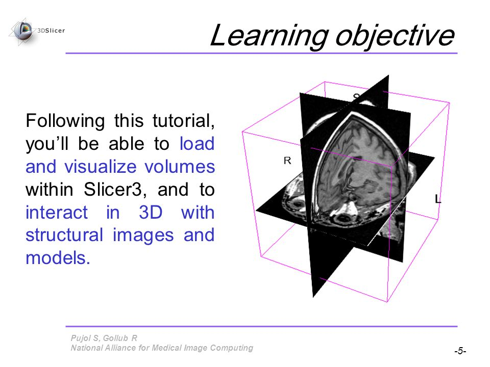 Pujol S, Gollub R -5- National Alliance for Medical Image Computing Learning objective Following this tutorial, youll be able to load and visualize volumes within Slicer3, and to interact in 3D with structural images and models.