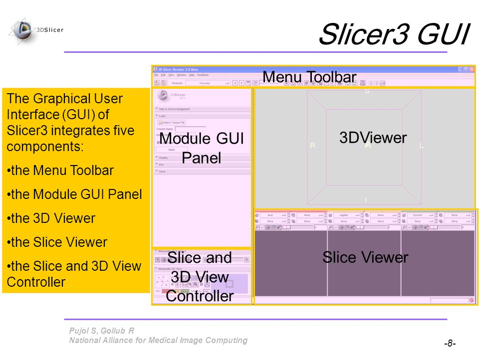 Pujol S, Gollub R -49- National Alliance for Medical Image Computing Loading a 3D model Click on Load Model Directory and select the directory models: SlicerSampleVisualization/models/