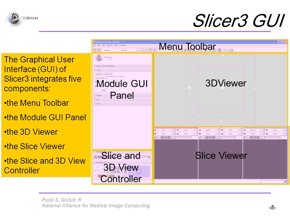 Pujol S, Gollub R -89- National Alliance for Medical Image Computing Loading a Scene Slicer restores scene snapshot MySceneSnapshot2