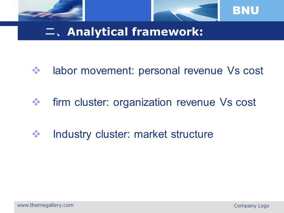 BNU www.themegallery.com Company Logo Analytical framework: labor movement: personal revenue Vs cost firm cluster: organization revenue Vs cost Industry cluster: market structure