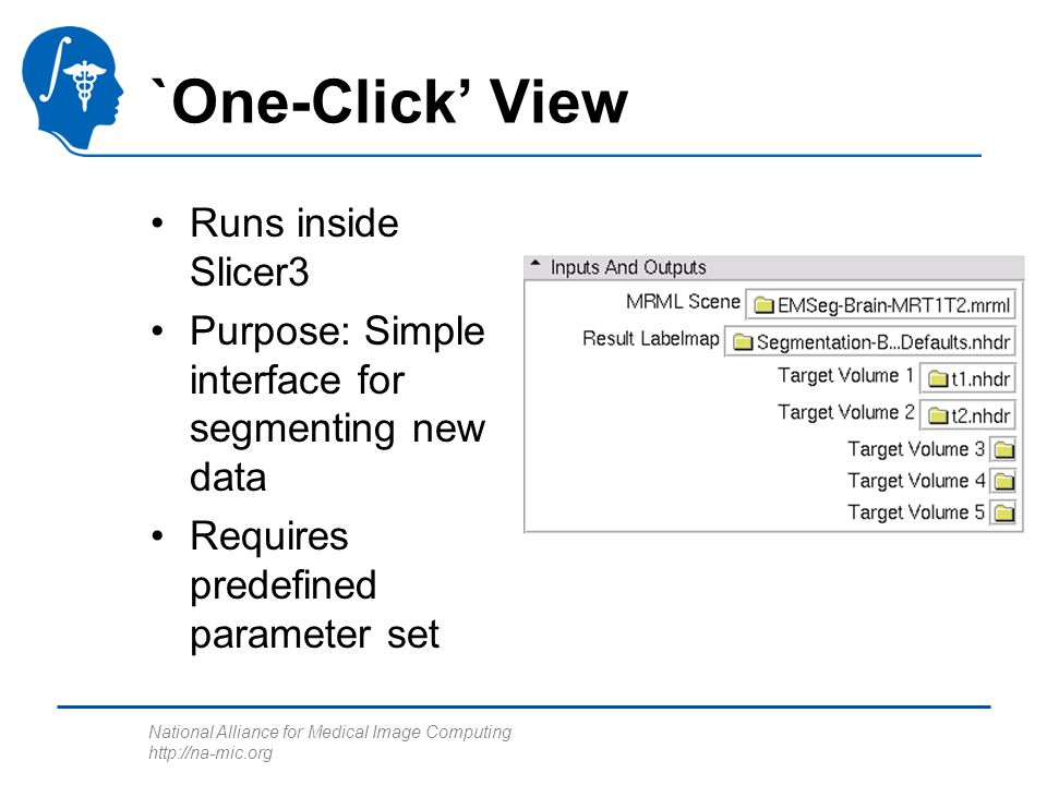 National Alliance for Medical Image Computing http://na-mic.org `One-Click View Runs inside Slicer3 Purpose: Simple interface for segmenting new data Requires predefined parameter set