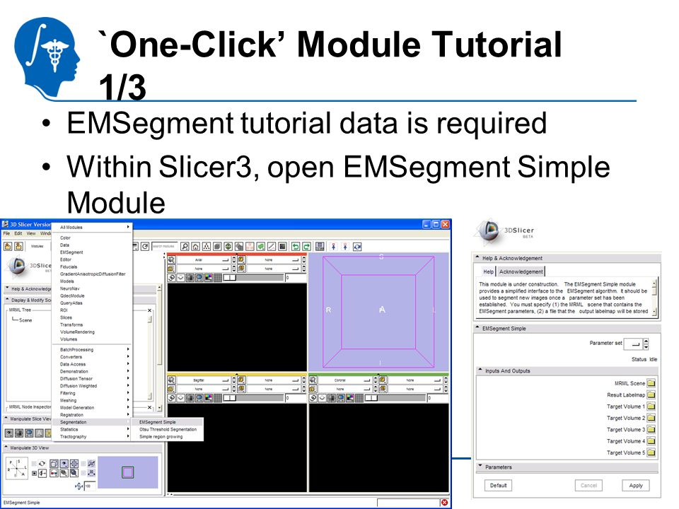 National Alliance for Medical Image Computing http://na-mic.org `One-Click Module Tutorial 1/3 EMSegment tutorial data is required Within Slicer3, open EMSegment Simple Module