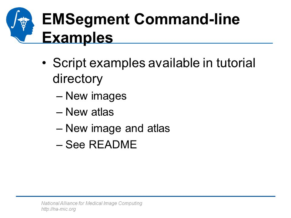 National Alliance for Medical Image Computing http://na-mic.org EMSegment Command-line Examples Script examples available in tutorial directory –New i