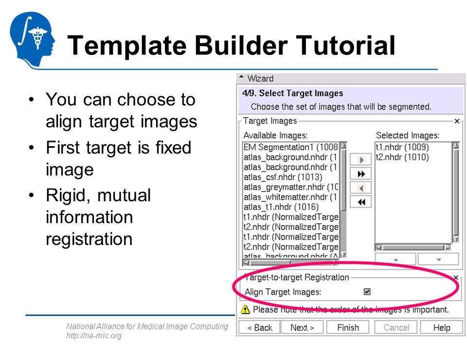 National Alliance for Medical Image Computing http://na-mic.org Template Builder Tutorial You can choose to align target images First target is fixed image Rigid, mutual information registration