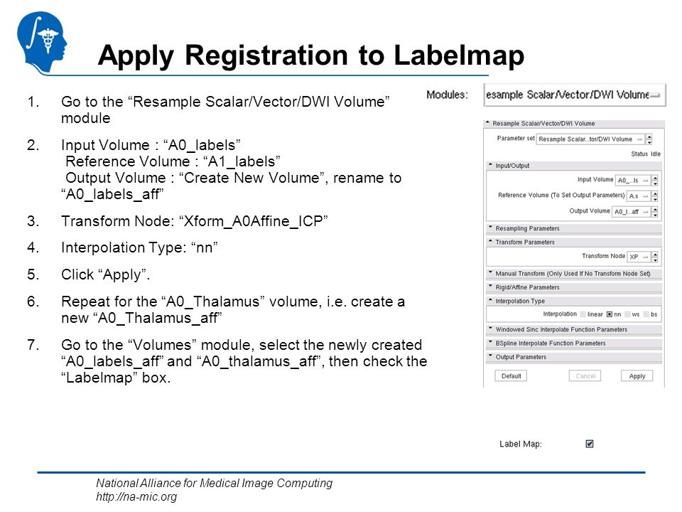 National Alliance for Medical Image Computing http://na-mic.org Apply Registration to Labelmap 1.Go to the Resample Scalar/Vector/DWI Volume module 2.Input Volume : A0_labels Reference Volume : A1_labels Output Volume : Create New Volume, rename to A0_labels_aff 3.Transform Node: Xform_A0Affine_ICP 4.Interpolation Type: nn 5.Click Apply.