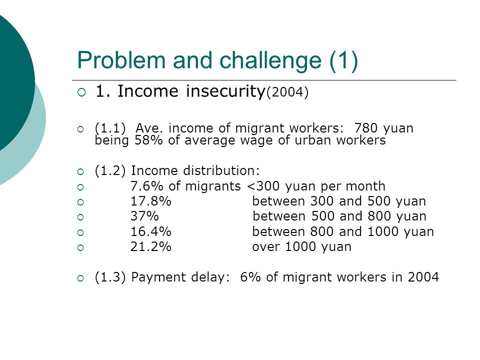 Problem and challenge (1) 1. Income insecurity (2004) (1.1) Ave.