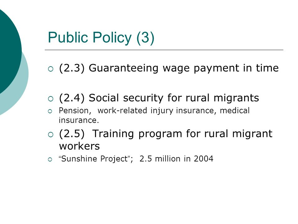 Public Policy (3) (2.3) Guaranteeing wage payment in time (2.4) Social security for rural migrants Pension, work-related injury insurance, medical insurance.