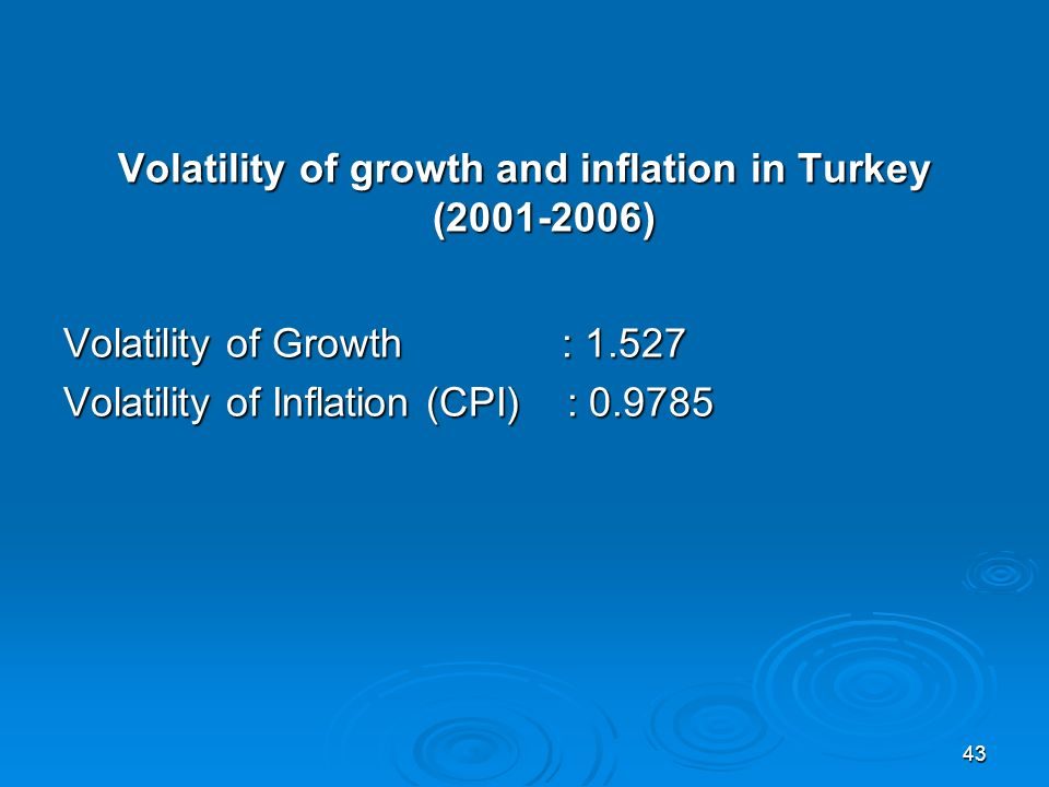 43 Volatility of growth and inflation in Turkey (2001-2006) Volatility of Growth : 1.527 Volatility of Inflation (CPI) : 0.9785