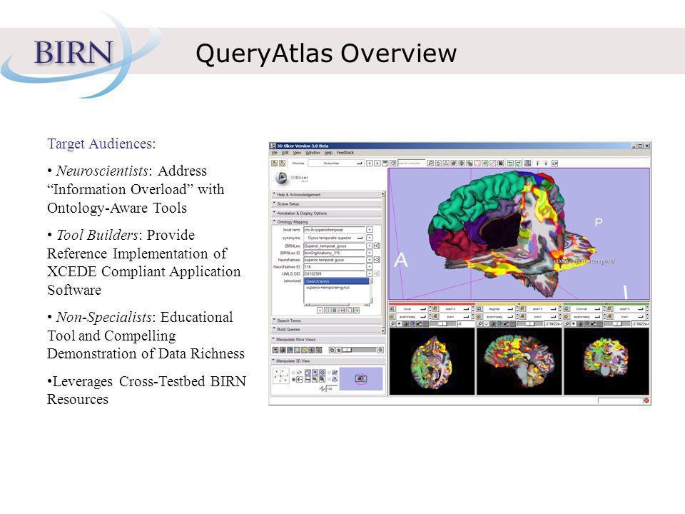 QueryAtlas Overview Target Audiences: Neuroscientists: Address Information Overload with Ontology-Aware Tools Tool Builders: Provide Reference Implementation of XCEDE Compliant Application Software Non-Specialists: Educational Tool and Compelling Demonstration of Data Richness Leverages Cross-Testbed BIRN Resources