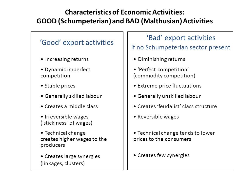 Bad export activities if no Schumpeterian sector present Good export activities Characteristics of Economic Activities: GOOD (Schumpeterian) and BAD (Malthusian) Activities Increasing returnsDiminishing returns Dynamic imperfect competition Perfect competition (commodity competition) Stable prices Extreme price fluctuations Generally skilled labour Generally unskilled labour Creates a middle class Creates feudalist class structure Irreversible wages (stickiness of wages) Reversible wages Technical change creates higher wages to the producers Technical change tends to lower prices to the consumers Creates large synergies (linkages, clusters) Creates few synergies