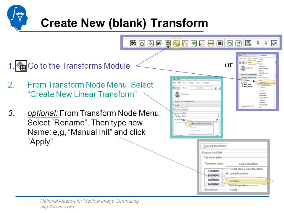 National Alliance for Medical Image Computing http://na-mic.org Create New (blank) Transform 1.Go to the Transforms Module 2.From Transform Node Menu: