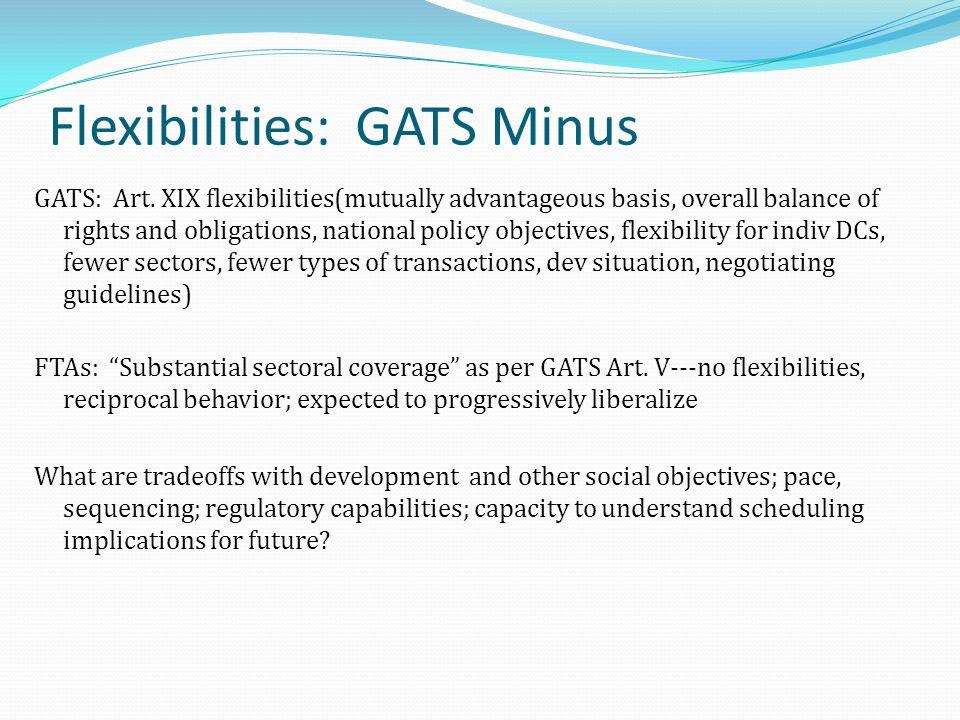Flexibilities: GATS Minus GATS: Art.