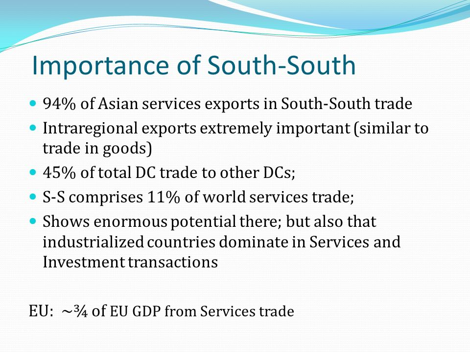 Importance of South-South 94% of Asian services exports in South-South trade Intraregional exports extremely important (similar to trade in goods) 45% of total DC trade to other DCs; S-S comprises 11% of world services trade; Shows enormous potential there; but also that industrialized countries dominate in Services and Investment transactions EU: ~¾ of EU GDP from Services trade