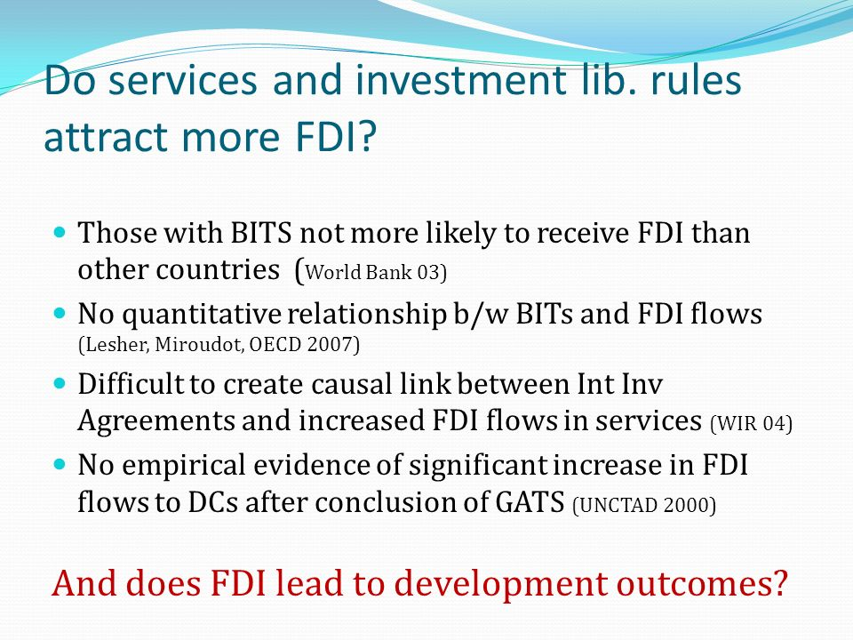 Do services and investment lib. rules attract more FDI.