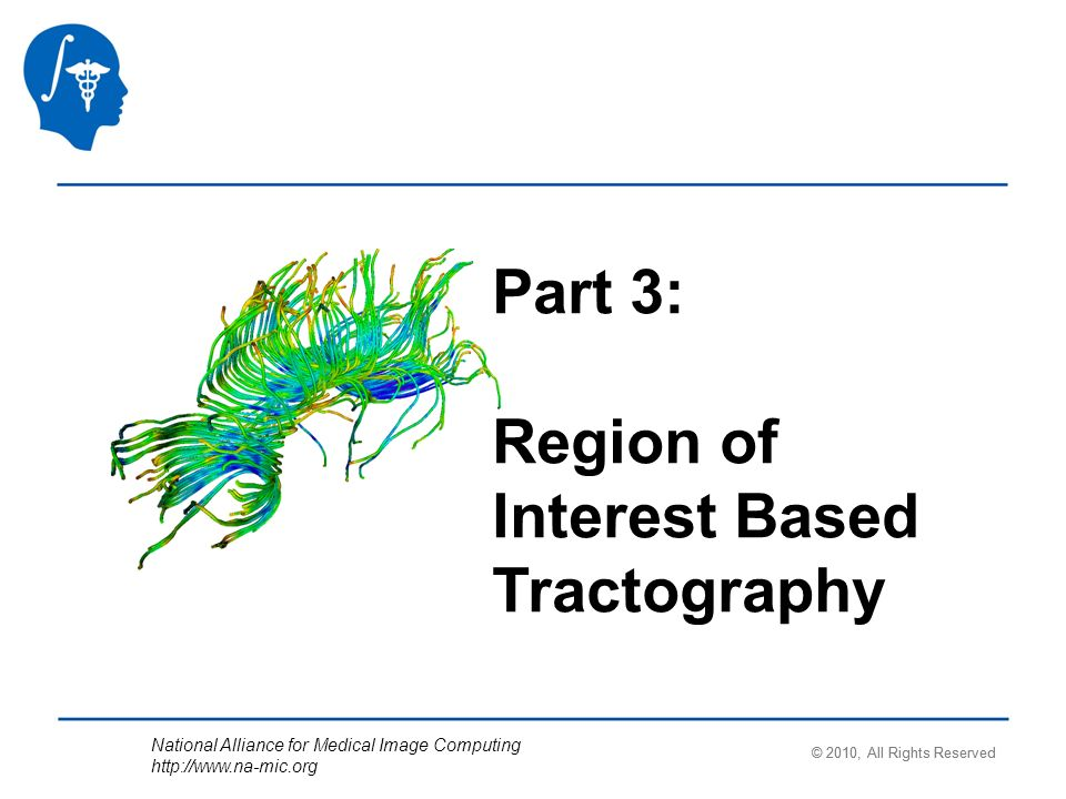 National Alliance for Medical Image Computing   Part 3: Region of Interest Based Tractography © 2010, All Rights Reserved