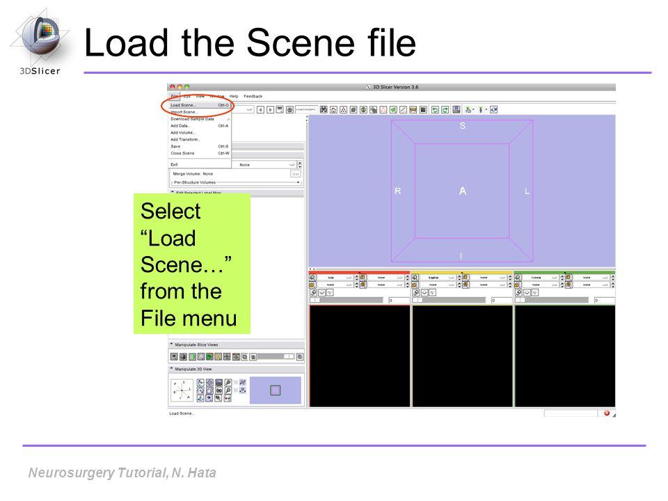 Load the Scene file Select Load Scene… from the File menu Neurosurgery Tutorial, N. Hata