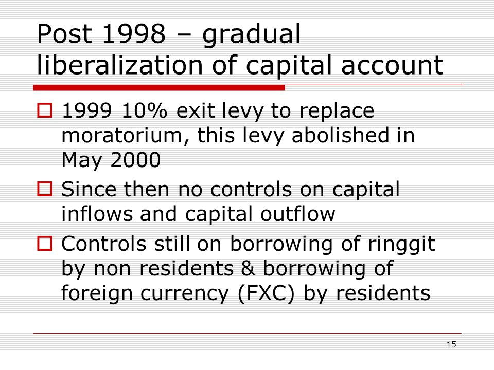 Post 1998 – gradual liberalization of capital account 1999 10% exit levy to replace moratorium, this levy abolished in May 2000 Since then no controls