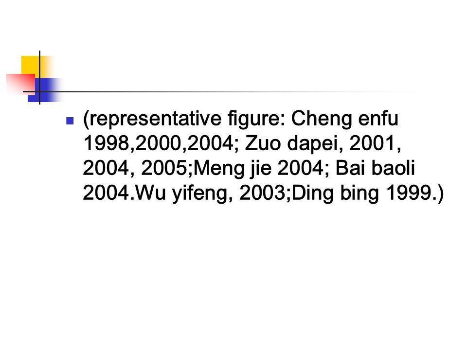 (representative figure: Cheng enfu 1998,2000,2004; Zuo dapei, 2001, 2004, 2005;Meng jie 2004; Bai baoli 2004.Wu yifeng, 2003;Ding bing 1999.)