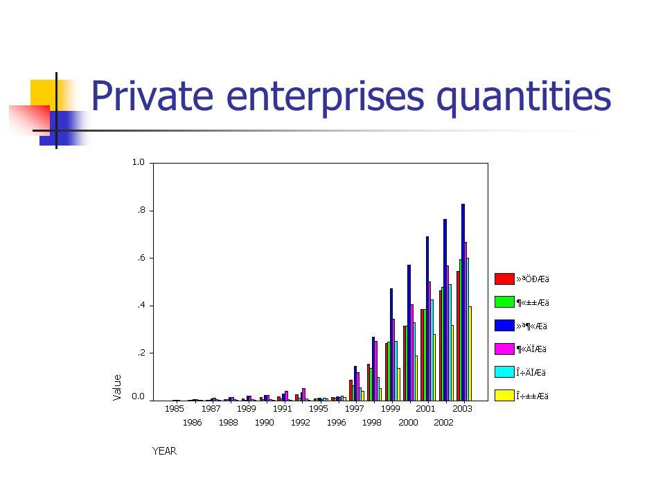 Private enterprises quantities