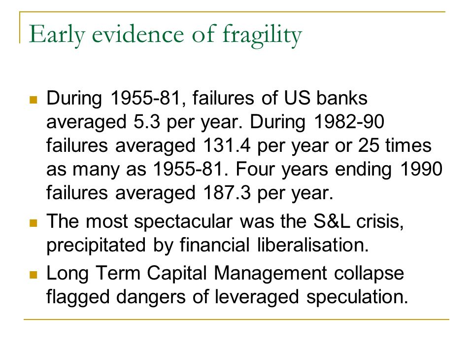 Early evidence of fragility During 1955-81, failures of US banks averaged 5.3 per year.