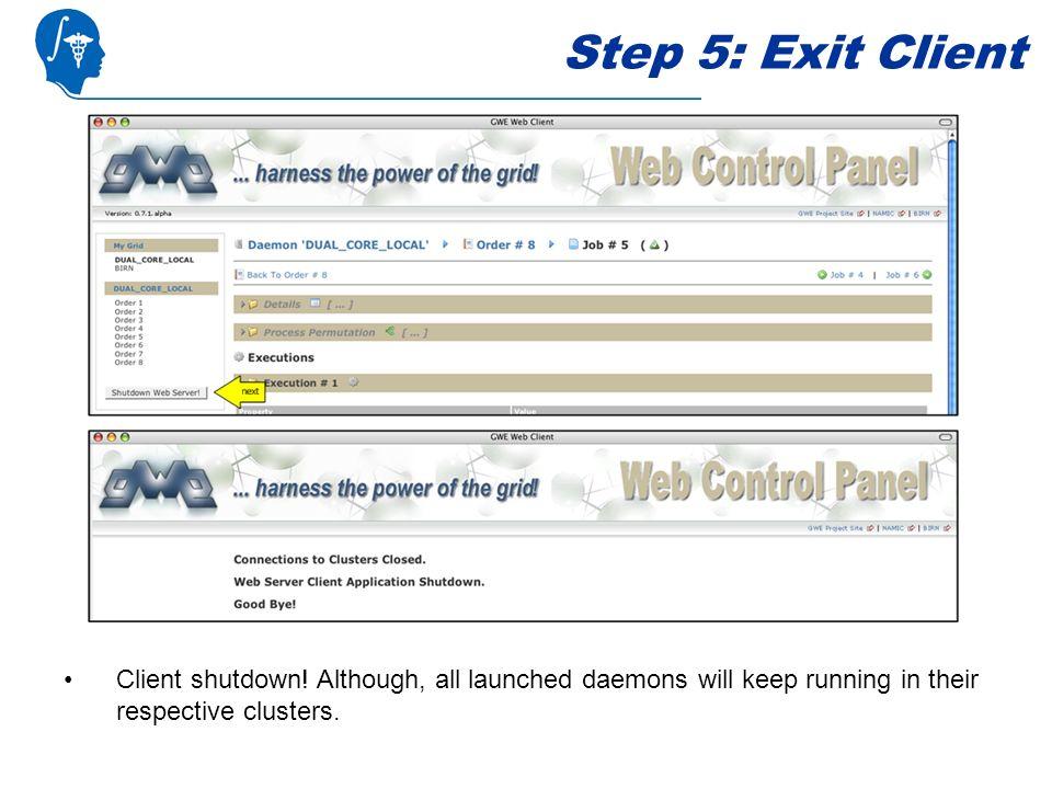 Step 5: Exit Client Client shutdown.