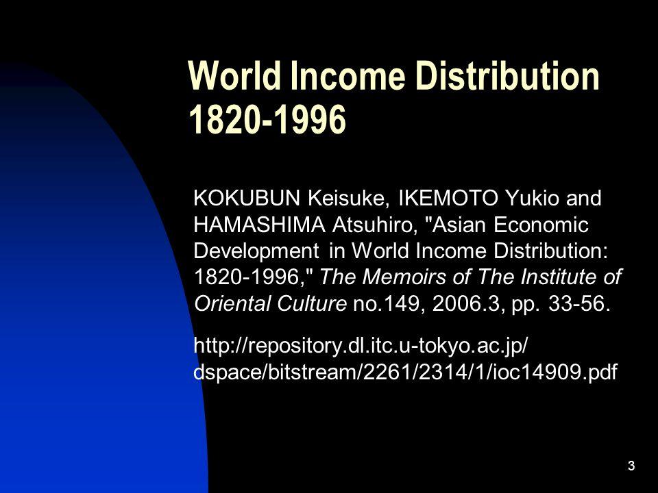 3 World Income Distribution 1820-1996 KOKUBUN Keisuke, IKEMOTO Yukio and HAMASHIMA Atsuhiro, Asian Economic Development in World Income Distribution: 1820-1996, The Memoirs of The Institute of Oriental Culture no.149, 2006.3, pp.