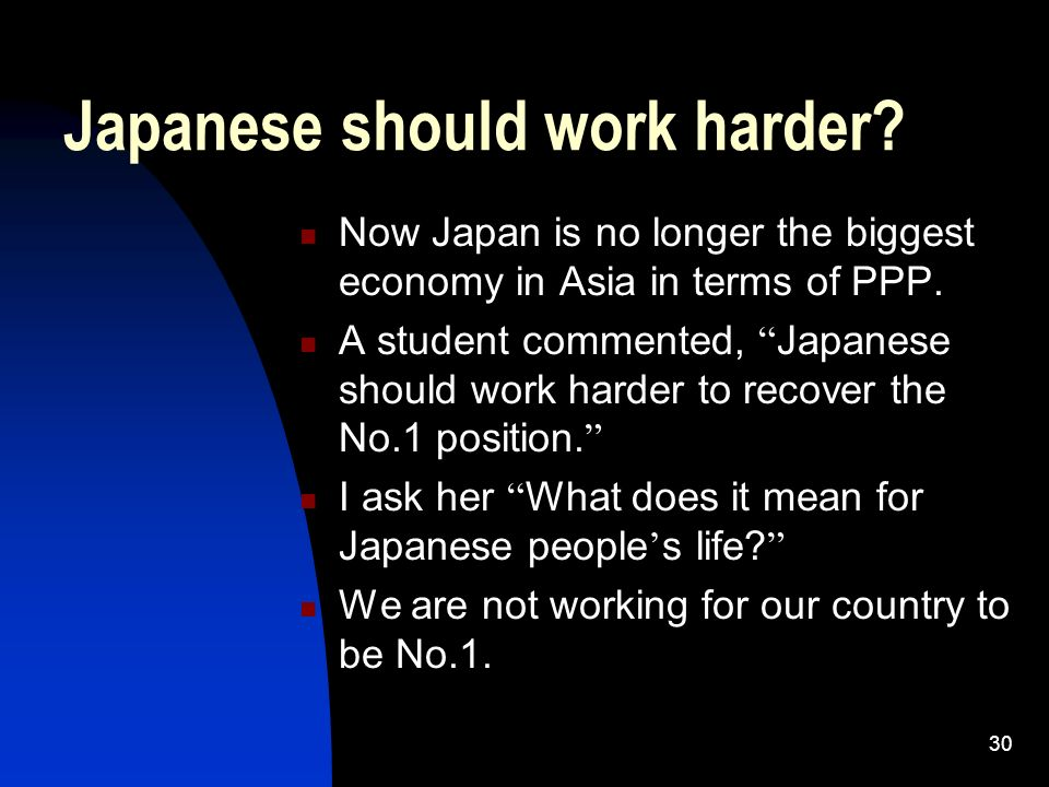 30 Japanese should work harder? Now Japan is no longer the biggest economy in Asia in terms of PPP. A student commented, Japanese should work harder t