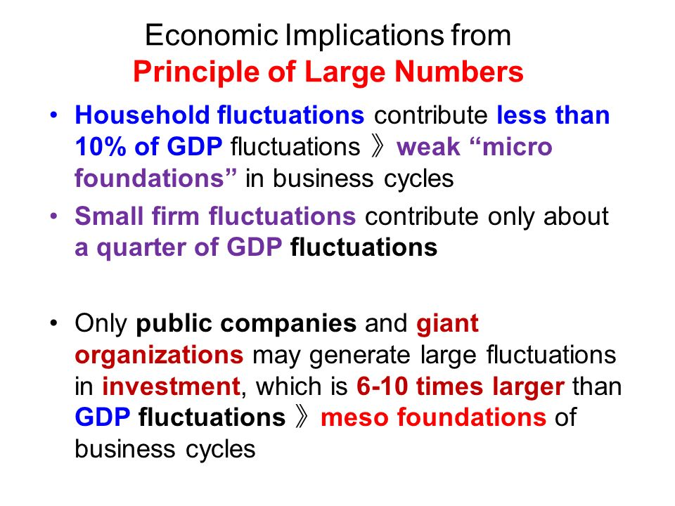 Economic Implications from Principle of Large Numbers Household fluctuations contribute less than 10% of GDP fluctuations weak micro foundations in business cycles Small firm fluctuations contribute only about a quarter of GDP fluctuations Only public companies and giant organizations may generate large fluctuations in investment, which is 6-10 times larger than GDP fluctuations meso foundations of business cycles