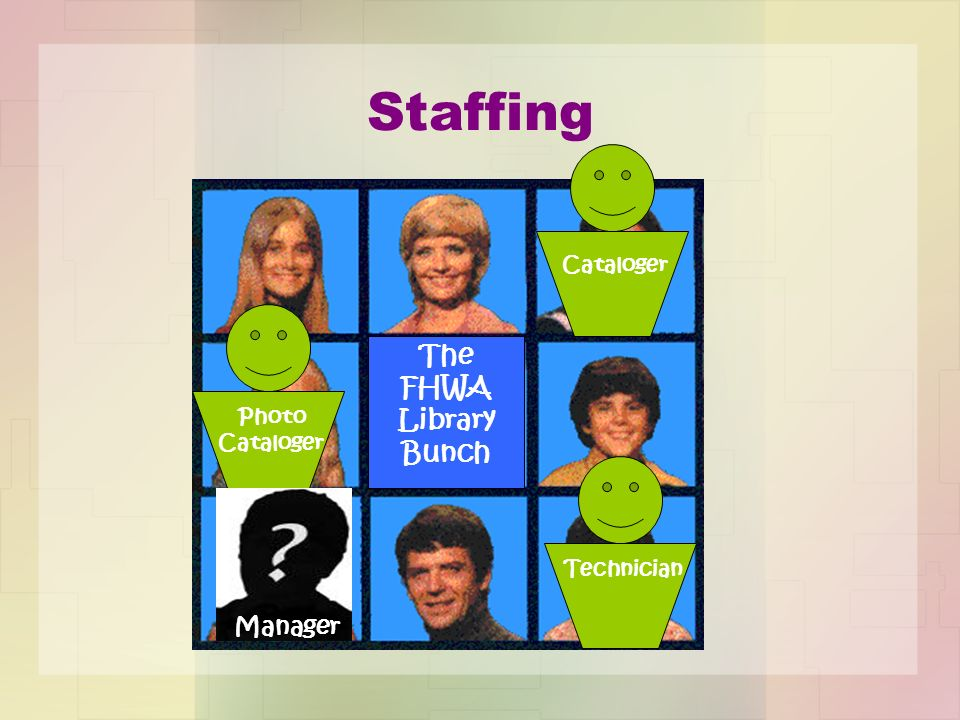 Staffing The FHWA Library Bunch Cataloger Photo Cataloger Technician Manager