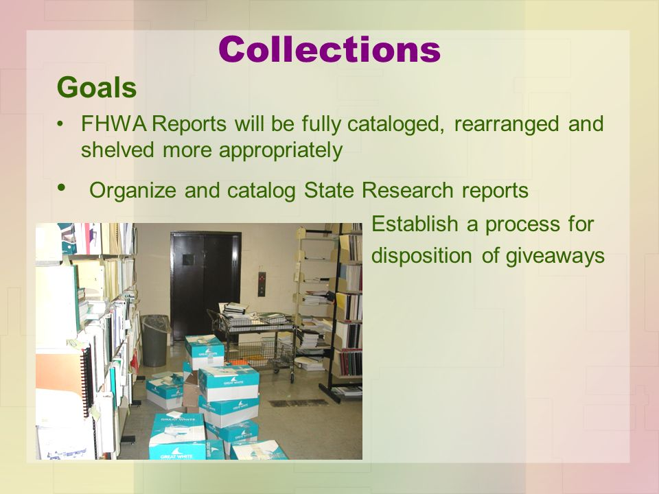 Collections Goals FHWA Reports will be fully cataloged, rearranged and shelved more appropriately Organize and catalog State Research reports Establis