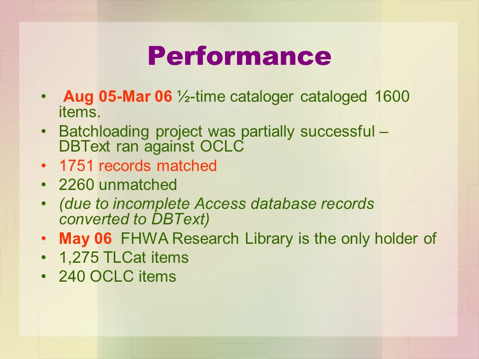 Performance Aug 05-Mar 06 ½-time cataloger cataloged 1600 items. Batchloading project was partially successful – DBText ran against OCLC 1751 records