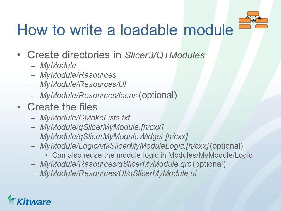 How to write a loadable module Create directories in Slicer3/QTModules –MyModule –MyModule/Resources –MyModule/Resources/UI –MyModule/Resources/Icons (optional) Create the files –MyModule/CMakeLists.txt –MyModule/qSlicerMyModule.[h/cxx] –MyModule/qSlicerMyModuleWidget.[h/cxx] –MyModule/Logic/vtkSlicerMyModuleLogic.[h/cxx] (optional) Can also reuse the module logic in Modules/MyModule/Logic –MyModule/Resources/qSlicerMyModule.qrc (optional) –MyModule/Resources/UI/qSlicerMyModule.ui