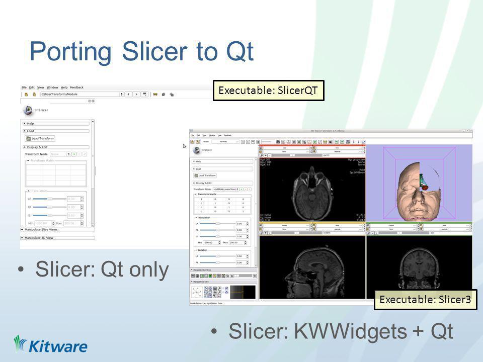 Porting Slicer to Qt Slicer: Qt only Slicer: KWWidgets + Qt Executable: Slicer3 Executable: SlicerQT