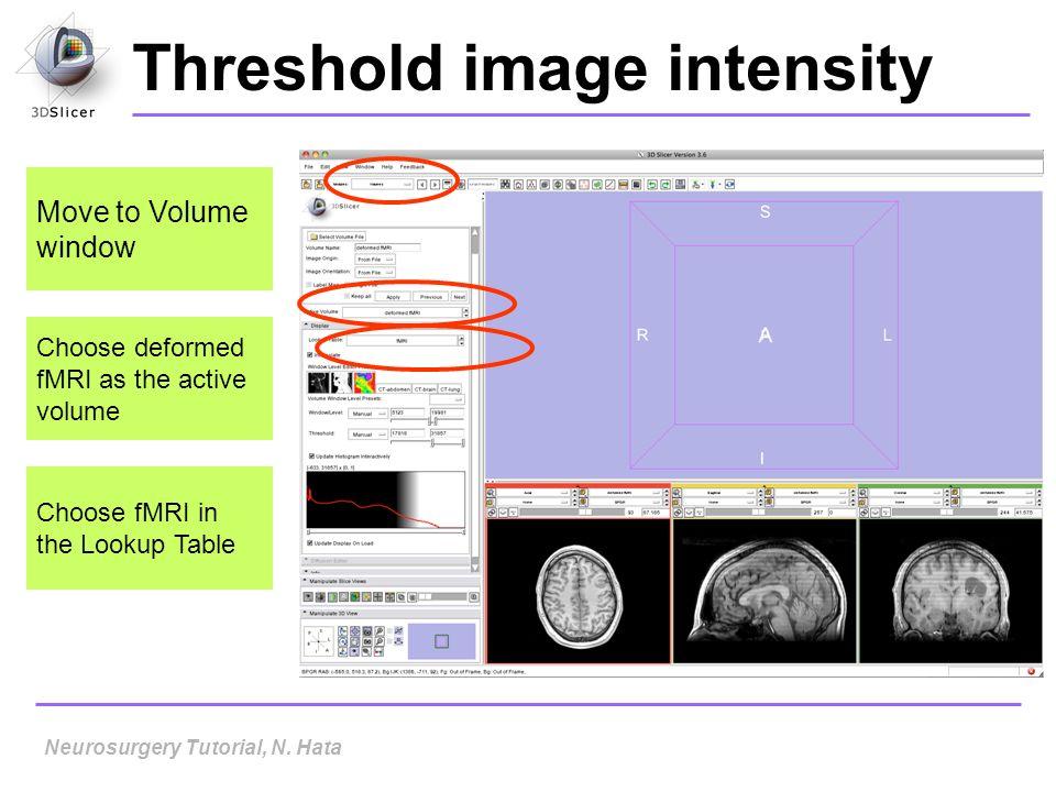 Neurosurgery Tutorial, N. Hata Threshold image intensity Move to Volume window Choose deformed fMRI as the active volume Choose fMRI in the Lookup Tab