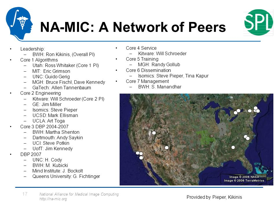National Alliance for Medical Image Computing http://na-mic.org 17 NA-MIC: A Network of Peers Leadership: –BWH: Ron Kikinis, (Overall PI) Core 1 Algorithms –Utah: Ross Whitaker (Core 1 PI) –MIT: Eric Grimson –UNC: Guido Gerig –MGH: Bruce Fischl, Dave Kennedy –GaTech: Allen Tannenbaum Core 2 Engineering –Kitware: Will Schroeder (Core 2 PI) –GE: Jim Miller –Isomics: Steve Pieper –UCSD: Mark Ellisman –UCLA: Art Toga Core 3 DBP 2004-2007 –BWH: Martha Shenton –Dartmouth: Andy Saykin –UCI: Steve Potkin –UofT: Jim Kennedy DBP 2007 –UNC: H.