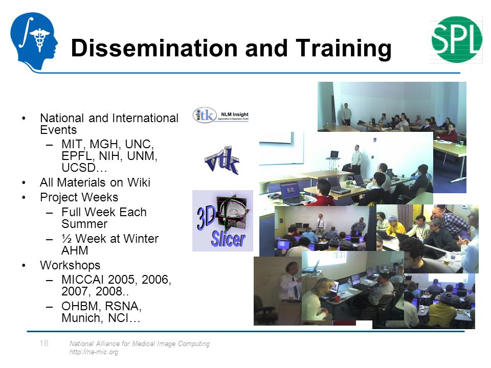 National Alliance for Medical Image Computing http://na-mic.org 18 Dissemination and Training National and International Events –MIT, MGH, UNC, EPFL, NIH, UNM, UCSD… All Materials on Wiki Project Weeks –Full Week Each Summer –½ Week at Winter AHM Workshops –MICCAI 2005, 2006, 2007, 2008..