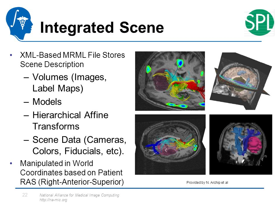 National Alliance for Medical Image Computing http://na-mic.org 22 Integrated Scene XML-Based MRML File Stores Scene Description –Volumes (Images, Label Maps) –Models –Hierarchical Affine Transforms –Scene Data (Cameras, Colors, Fiducials, etc).