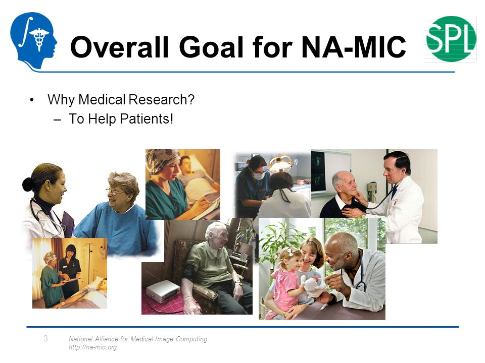 National Alliance for Medical Image Computing http://na-mic.org 3 Overall Goal for NA-MIC Why Medical Research.