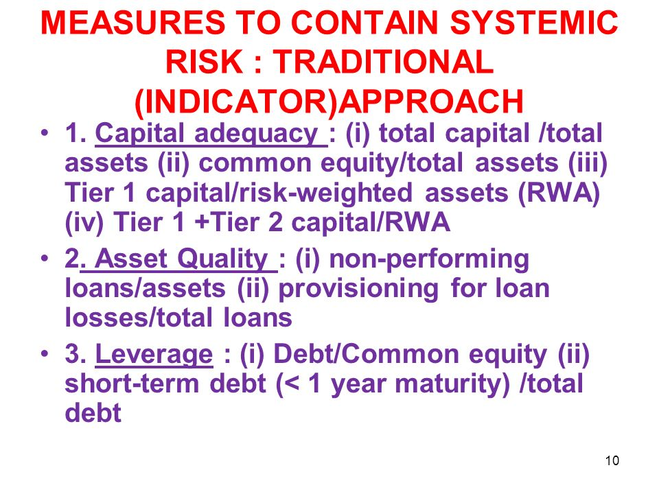 MEASURES TO CONTAIN SYSTEMIC RISK : TRADITIONAL (INDICATOR)APPROACH 1.