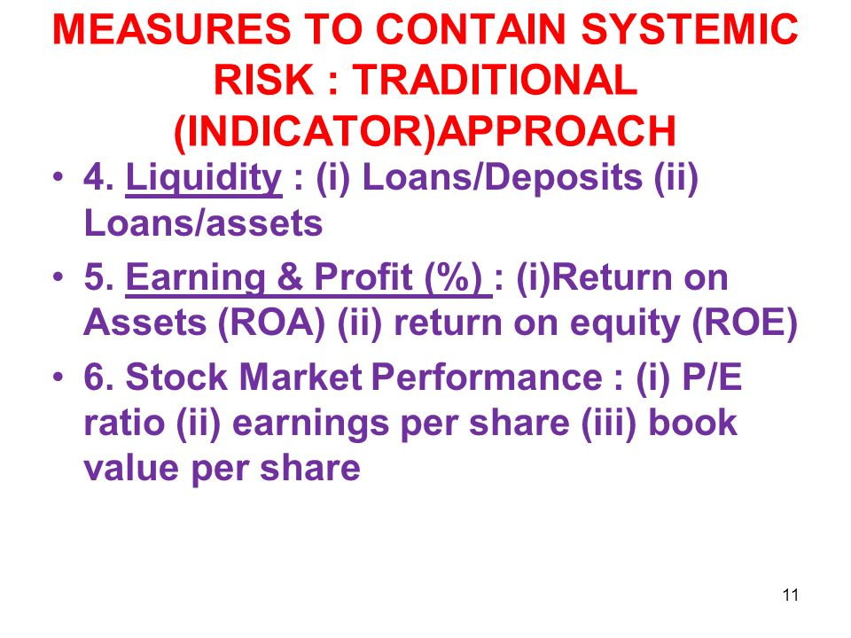 MEASURES TO CONTAIN SYSTEMIC RISK : TRADITIONAL (INDICATOR)APPROACH 4.