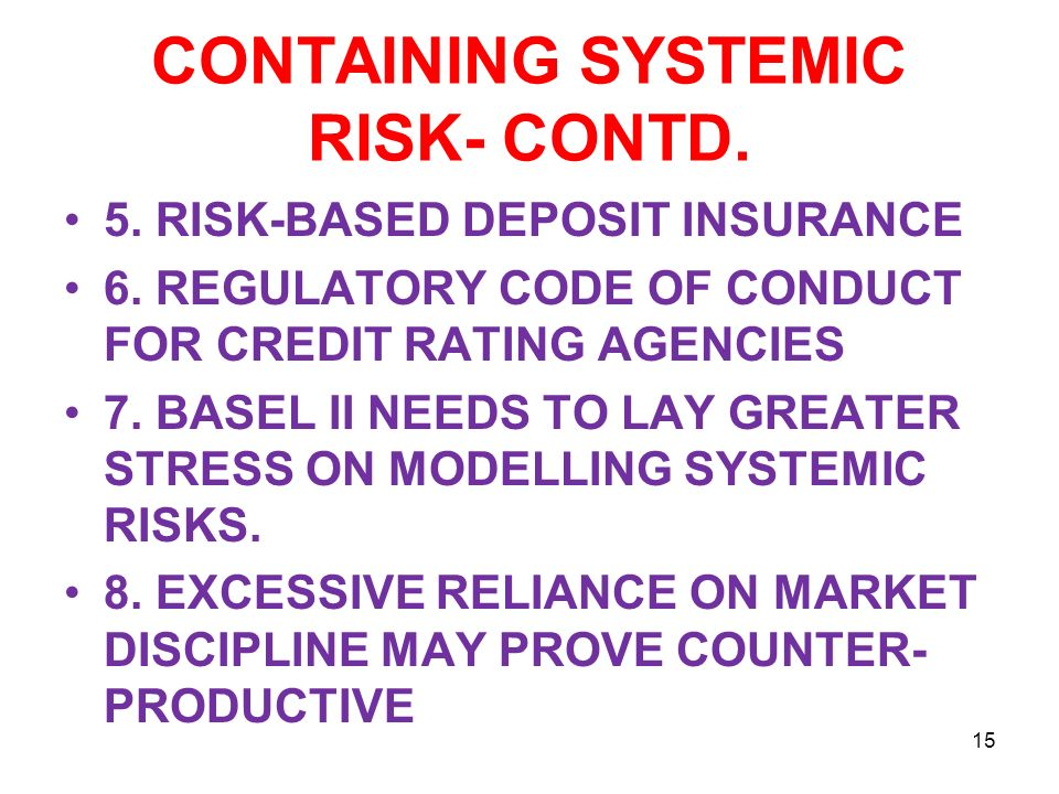CONTAINING SYSTEMIC RISK- CONTD. 5. RISK-BASED DEPOSIT INSURANCE 6.