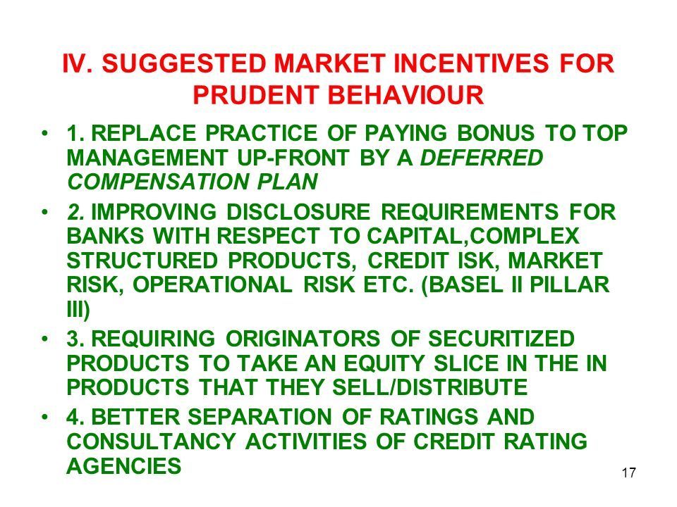 IV. SUGGESTED MARKET INCENTIVES FOR PRUDENT BEHAVIOUR 1.