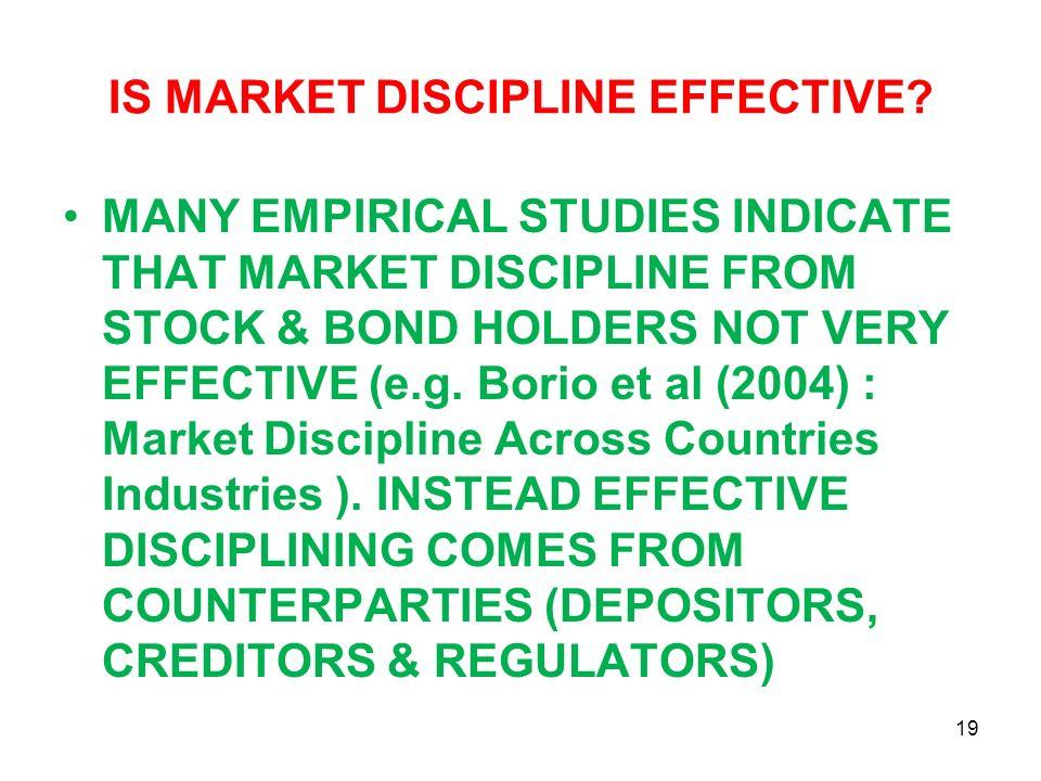 IS MARKET DISCIPLINE EFFECTIVE? MANY EMPIRICAL STUDIES INDICATE THAT MARKET DISCIPLINE FROM STOCK & BOND HOLDERS NOT VERY EFFECTIVE (e.g. Borio et al