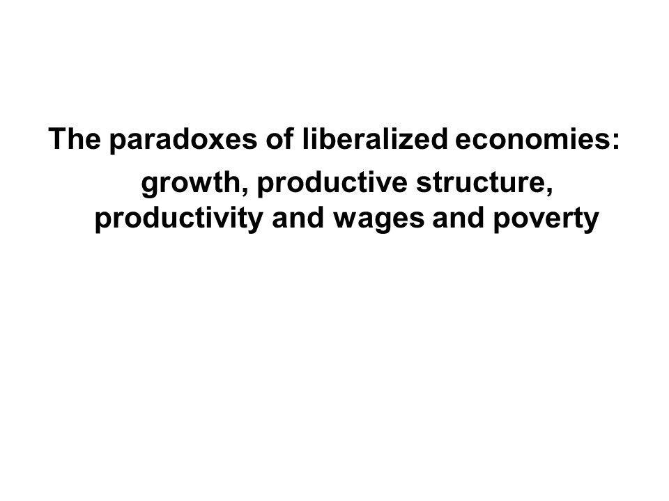 The paradoxes of liberalized economies: growth, productive structure, productivity and wages and poverty