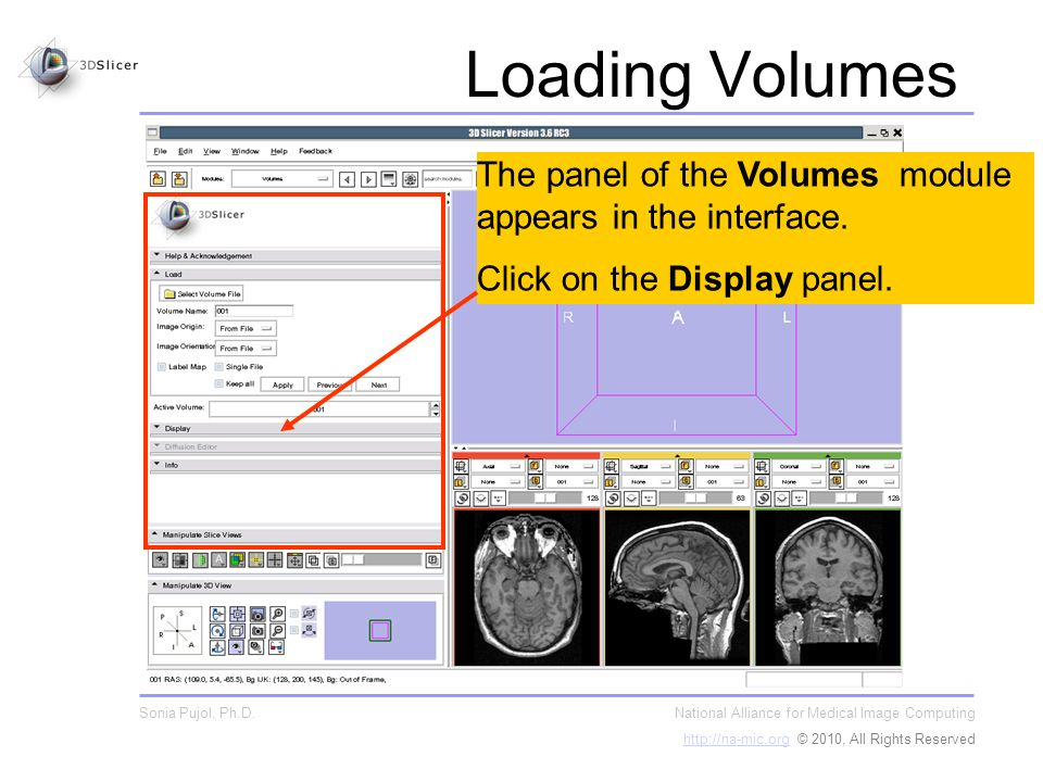 The panel of the Volumes module appears in the interface.