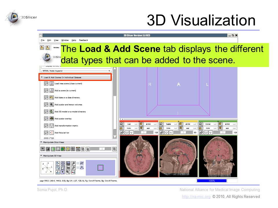 The Load & Add Scene tab displays the different data types that can be added to the scene.