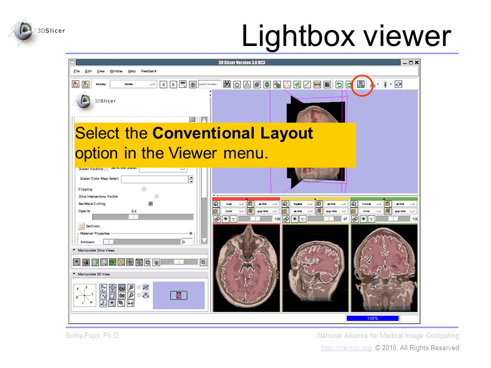 Select the Conventional Layout option in the Viewer menu.