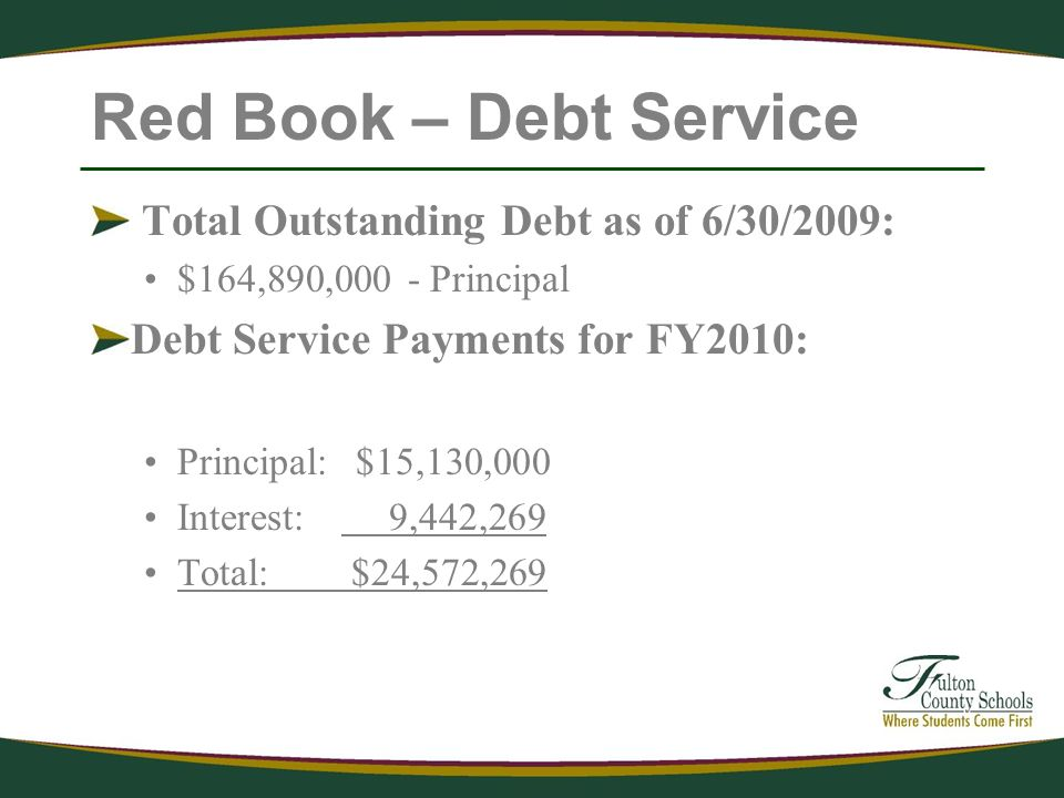 Red Book – Debt Service Total Outstanding Debt as of 6/30/2009: $164,890,000 - Principal Debt Service Payments for FY2010: Principal: $15,130,000 Interest: 9,442,269 Total: $24,572,269