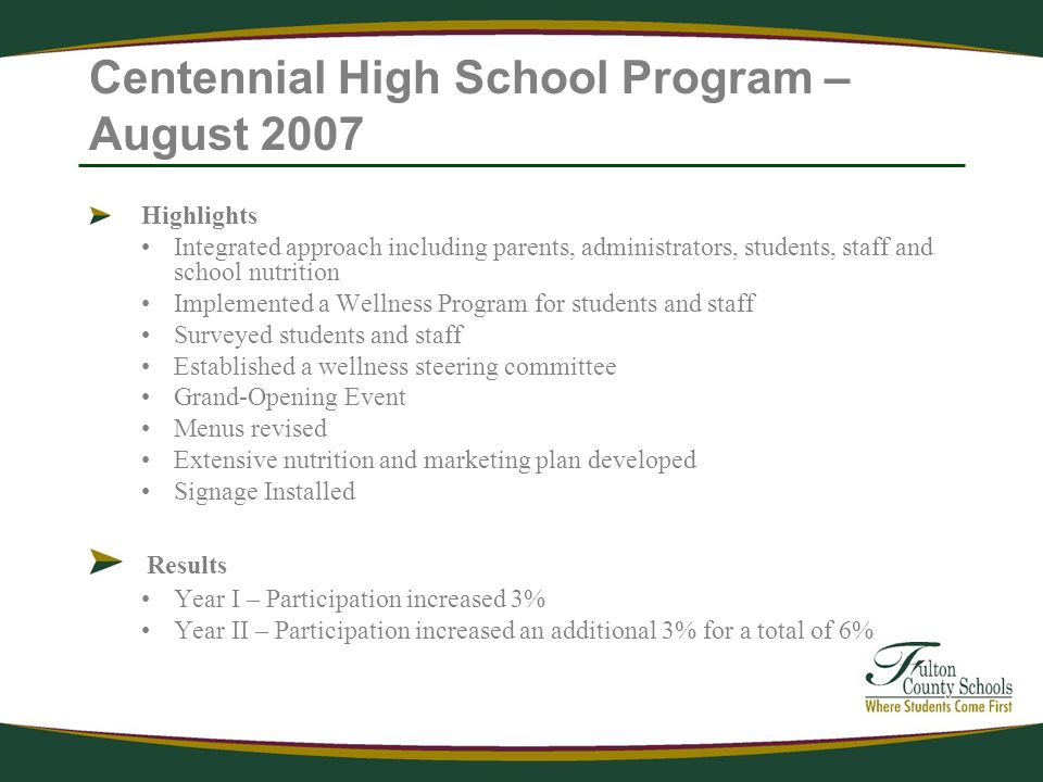 Centennial High School Program – August 2007 Highlights Integrated approach including parents, administrators, students, staff and school nutrition Implemented a Wellness Program for students and staff Surveyed students and staff Established a wellness steering committee Grand-Opening Event Menus revised Extensive nutrition and marketing plan developed Signage Installed Results Year I – Participation increased 3% Year II – Participation increased an additional 3% for a total of 6%