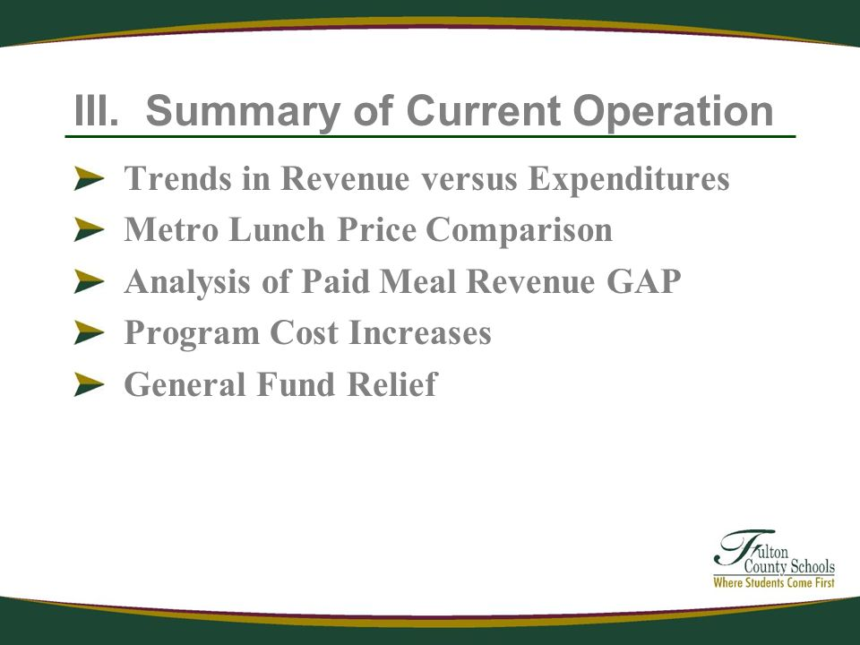 III. Summary of Current Operation Trends in Revenue versus Expenditures Metro Lunch Price Comparison Analysis of Paid Meal Revenue GAP Program Cost In